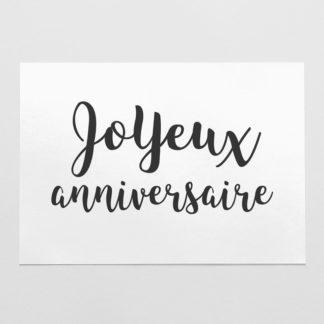 carte joyeux anniversaire en noir et blanc