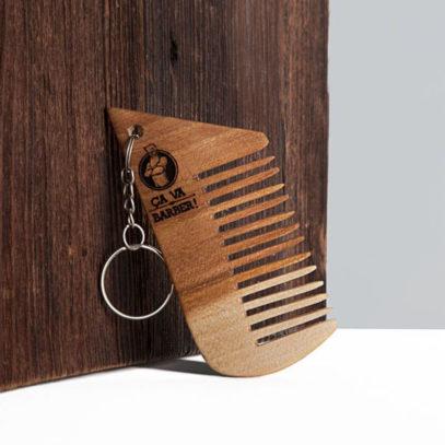 porte clef peigne en bois de hêtre